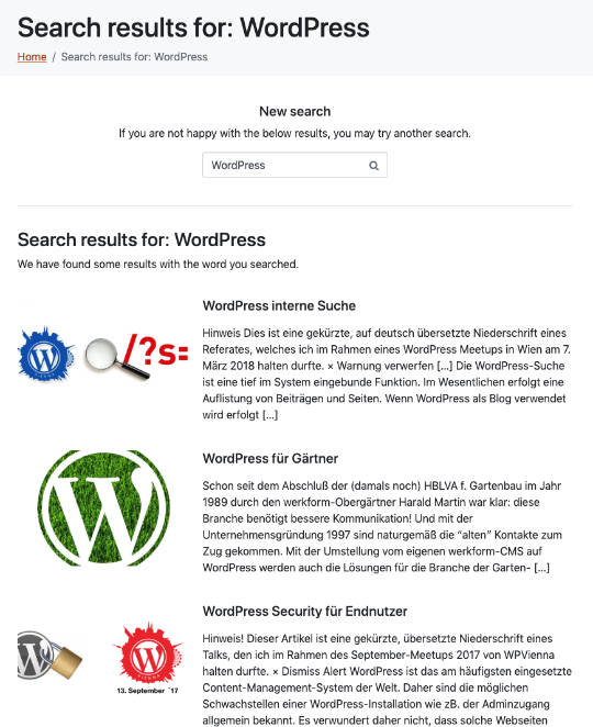 WordPress interne Suche