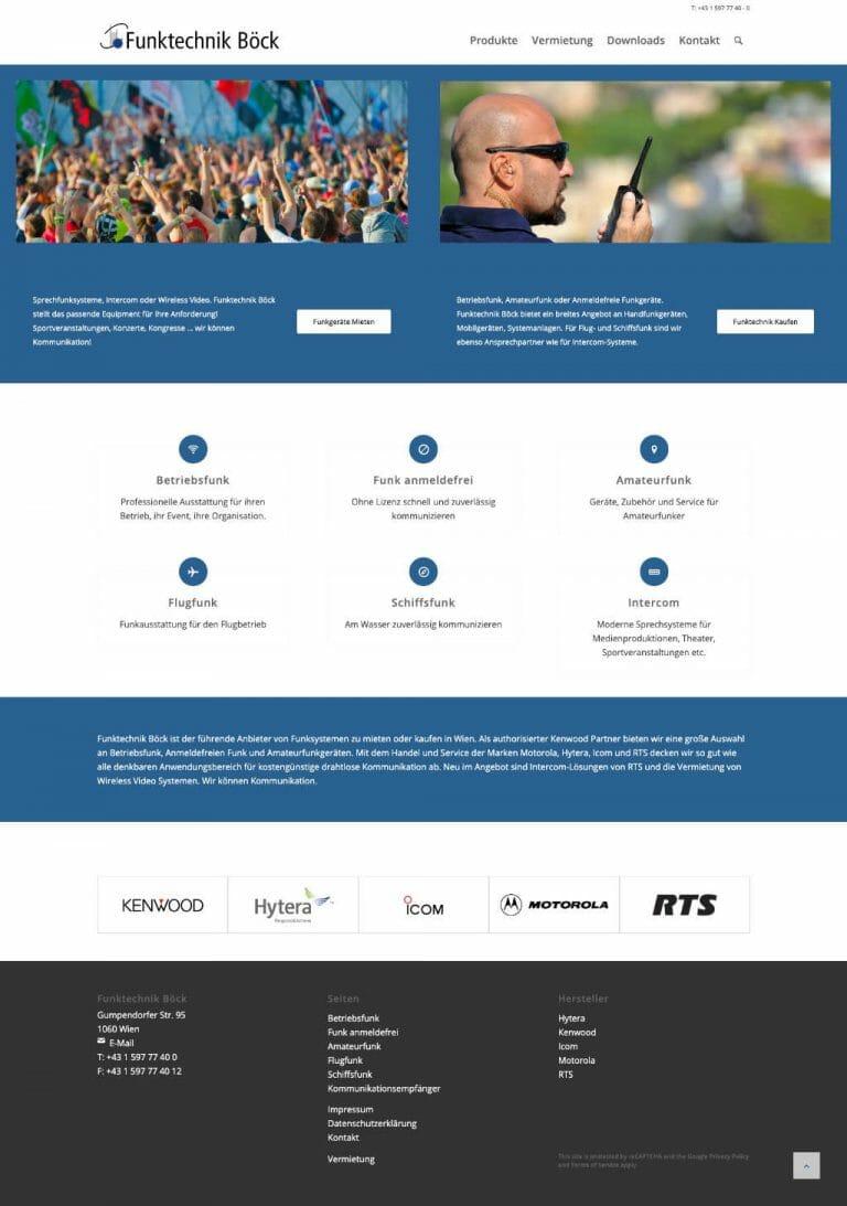 Funktechnik Böck werkform Webdesign