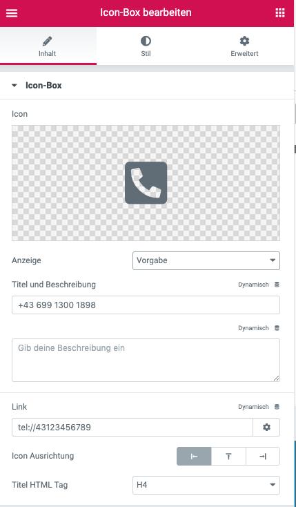 iconbox Telefon Elementor