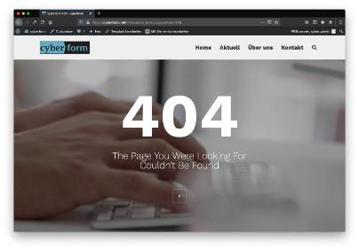 Webseite selber gestalten 404 Seite