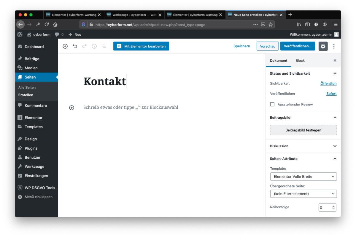 Website selbst erstellen Kontaktseite