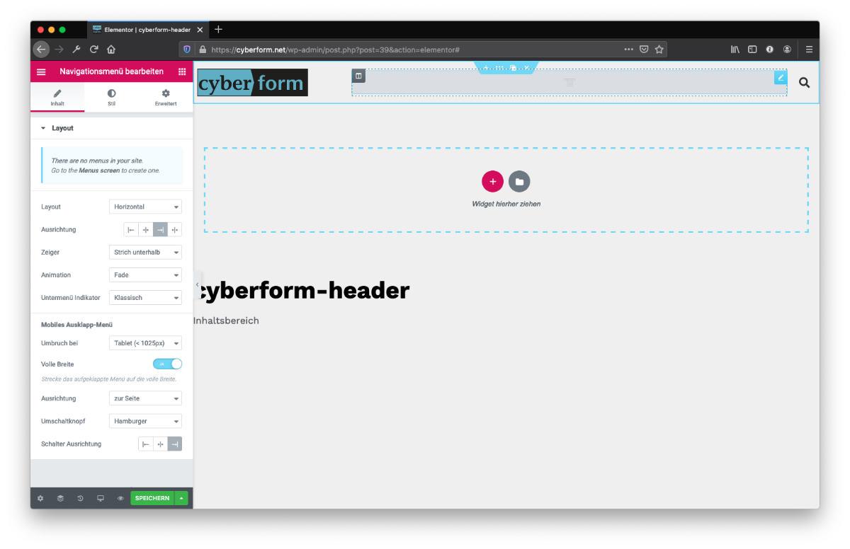 Website erstellen Header gestalten