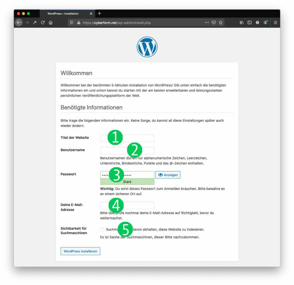 Webseite erstellen WP Installation