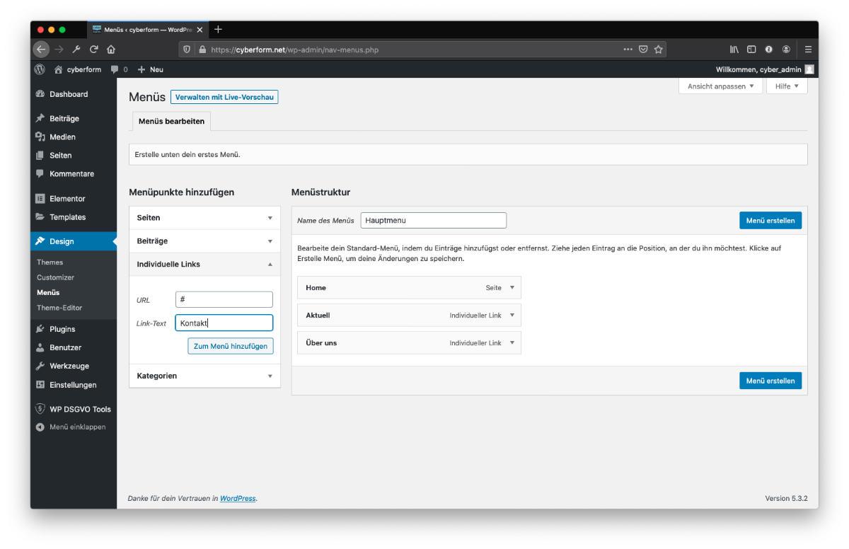 WordPress Menu erstellen Individuelle Links
