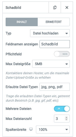 Elementor Form Fileupload