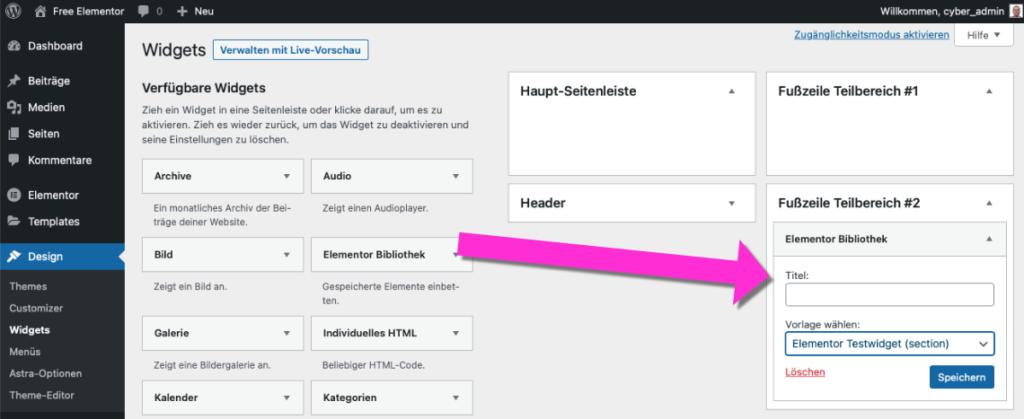 Elementor Template als WordPress Widget
