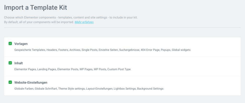 Site-Kit Import dialog